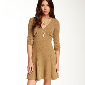 Free People mustard yellow brown gold v-neck dress